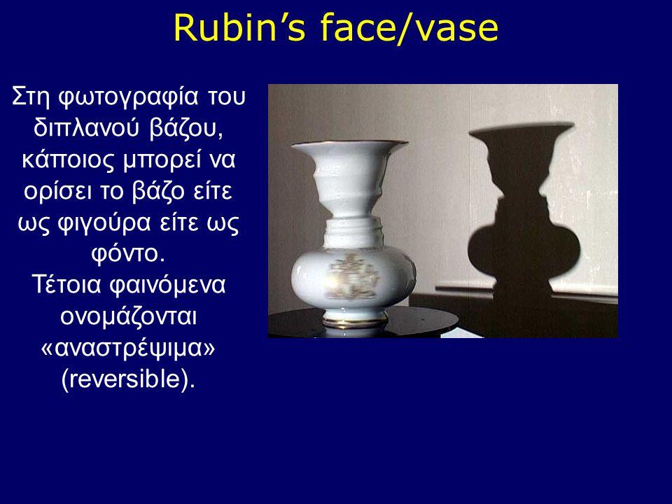 Rubin's face/vase Στη φωτογραφία του διπλανού βάζου, κάποιος μπορεί να ορίσει το βάζο είτε ως φιγούρα είτε ως φόντο. Τέτοια φαινόμενα ονομάζονται «ανα