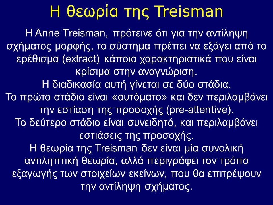 Η θεωρία της Treisman H Anne Treisman, πρότεινε ότι για την αντίληψη σχήματος μορφής, το σύστημα πρέπει να εξάγει από το ερέθισμα (extract) κάποια χαρ