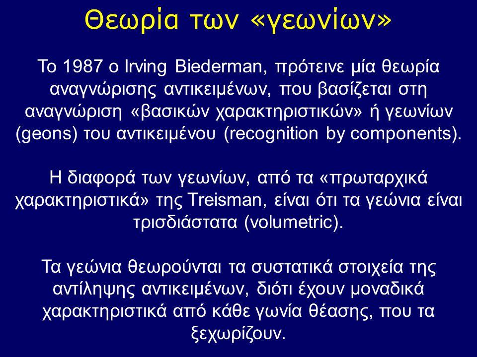 Θεωρία των «γεωνίων» Το 1987 ο Irving Biederman, πρότεινε μία θεωρία αναγνώρισης αντικειμένων, που βασίζεται στη αναγνώριση «βασικών χαρακτηριστικών»