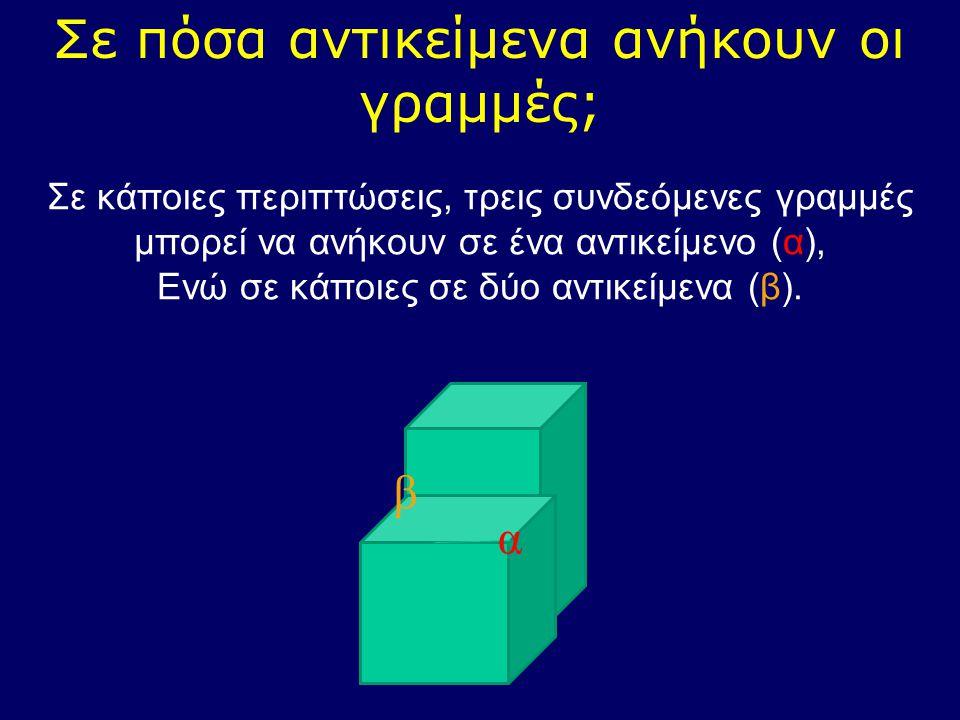 Σε πόσα αντικείμενα ανήκουν οι γραμμές; Σε κάποιες περιπτώσεις, τρεις συνδεόμενες γραμμές μπορεί να ανήκουν σε ένα αντικείμενο (α), Ενώ σε κάποιες σε