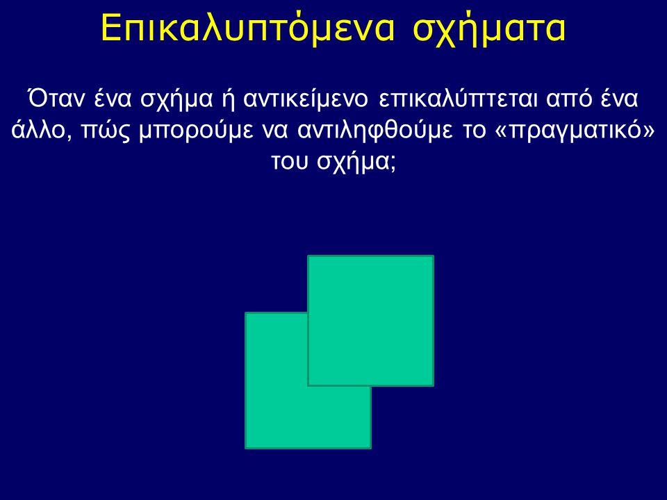 Επικαλυπτόμενα σχήματα Όταν ένα σχήμα ή αντικείμενο επικαλύπτεται από ένα άλλο, πώς μπορούμε να αντιληφθούμε το «πραγματικό» του σχήμα;