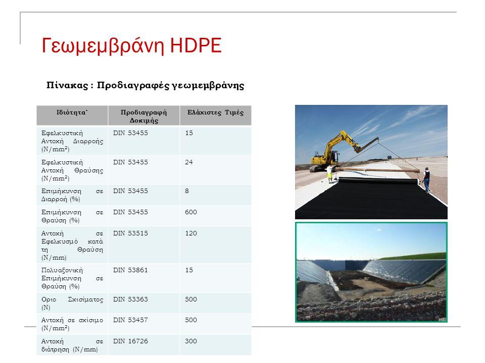 Γεωμεμβράνη HDPE Iδιότητα`Προδιαγραφή Δοκιμής Ελάχιστες Τιμές Eφελκυστική Αντοχή Διαρροής (N/mm 2 ) DIN 5345515 Eφελκυστική Αντοχή Θραύσης (N/mm 2 ) D