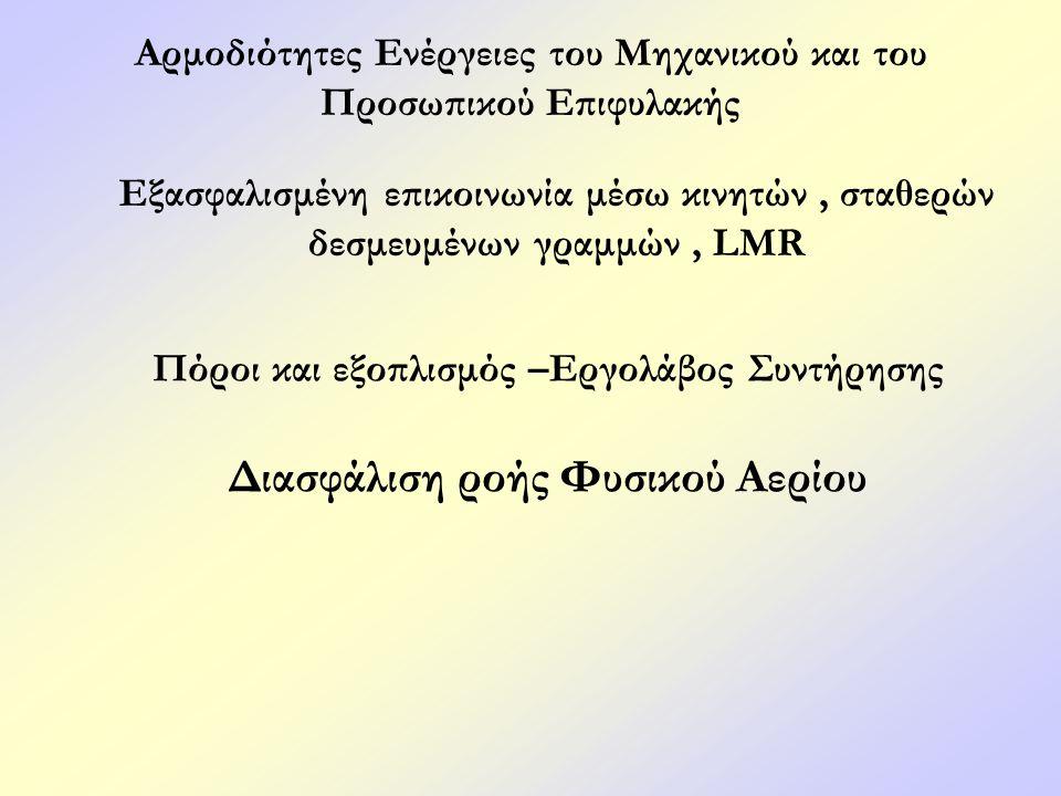 Αρμοδιότητες Ενέργειες του Μηχανικού και του Προσωπικού Επιφυλακής Εξασφαλισμένη επικοινωνία μέσω κινητών, σταθερών δεσμευμένων γραμμών, LMR Πόροι και εξοπλισμός –Εργολάβος Συντήρησης Διασφάλιση ροής Φυσικού Αερίου