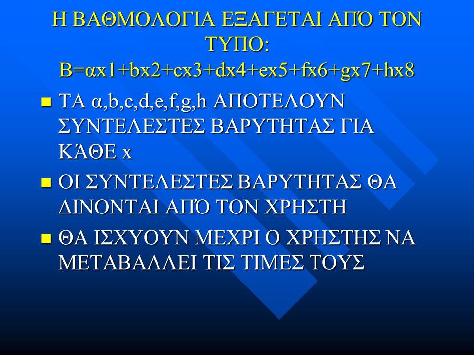 Η ΒΑΘΜΟΛΟΓΙΑ ΕΞΑΓΕΤΑΙ ΑΠΌ ΤΟΝ ΤΥΠΟ: Β=αx1+bx2+cx3+dx4+ex5+fx6+gx7+hx8 ΤΑ α,b,c,d,e,f,g,h ΑΠΟΤΕΛΟΥΝ ΣΥΝΤΕΛΕΣΤΕΣ ΒΑΡΥΤΗΤΑΣ ΓΙΑ ΚΆΘΕ x ΤΑ α,b,c,d,e,f,g,h ΑΠΟΤΕΛΟΥΝ ΣΥΝΤΕΛΕΣΤΕΣ ΒΑΡΥΤΗΤΑΣ ΓΙΑ ΚΆΘΕ x ΟΙ ΣΥΝΤΕΛΕΣΤΕΣ ΒΑΡΥΤΗΤΑΣ ΘΑ ΔΙΝΟΝΤΑΙ ΑΠΌ ΤΟΝ ΧΡΗΣΤΗ ΟΙ ΣΥΝΤΕΛΕΣΤΕΣ ΒΑΡΥΤΗΤΑΣ ΘΑ ΔΙΝΟΝΤΑΙ ΑΠΌ ΤΟΝ ΧΡΗΣΤΗ ΘΑ ΙΣΧΥΟΥΝ ΜΕΧΡΙ Ο ΧΡΗΣΤΗΣ ΝΑ ΜΕΤΑΒΑΛΛΕΙ ΤΙΣ ΤΙΜΕΣ ΤΟΥΣ ΘΑ ΙΣΧΥΟΥΝ ΜΕΧΡΙ Ο ΧΡΗΣΤΗΣ ΝΑ ΜΕΤΑΒΑΛΛΕΙ ΤΙΣ ΤΙΜΕΣ ΤΟΥΣ