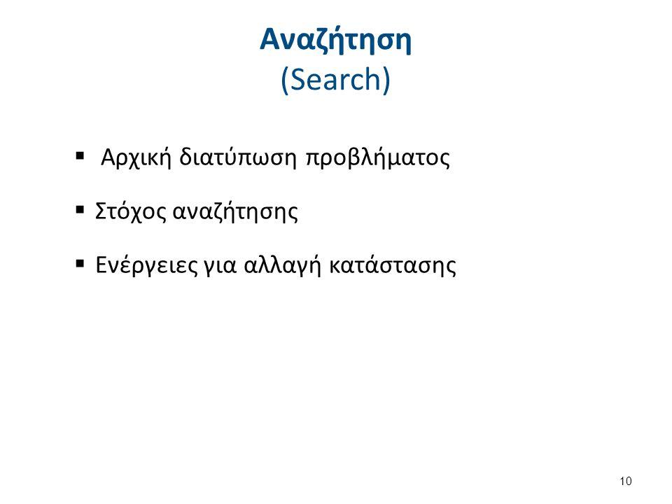 Αναζήτηση (Search)  Αρχική διατύπωση προβλήματος  Στόχος αναζήτησης  Ενέργειες για αλλαγή κατάστασης 10