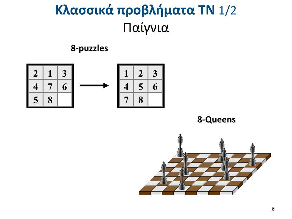 Παράδειγμα ορισμού προβλήματος στο χώρο καταστάσεων (2 από 2) Τελεστές μετάβασης: Τ1: Μετέφερε έναν κύβο x πάνω σε έναν κύβο y Προϋποθέσεις: Οι κύβοι x & y να είναι ελεύθεροι και διαφορετικοί.