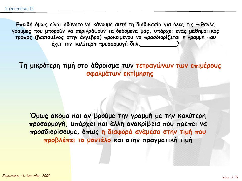 Στατιστική ΙΙ Ζαμπετάκης Α. Λεωνίδας, 2009 Διάλεξη 1 / 15 Επειδή όμως είναι αδύνατο να κάνουμε αυτή τη διαδικασία για όλες τις πιθανές γραμμές που μπο