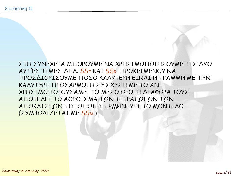 Στατιστική ΙΙ Ζαμπετάκης Α. Λεωνίδας, 2009 Διάλεξη 1 / 21 ΣΤΗ ΣΥΝΕΧΕΙΑ ΜΠΟΡΟΥΜΕ ΝΑ ΧΡΗΣΙΜΟΠΟΙΗΣΟΥΜΕ ΤΙΣ ΔΥΟ ΑΥΤΈΣ ΤΙΜΕΣ ΔΗΛ. SS T ΚΑΙ SS R ΠΡΟΚΕΙΜΕΝΟΥ