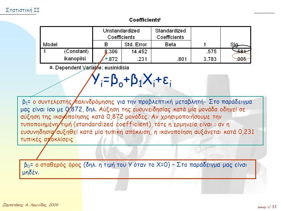 Στατιστική ΙΙ Ζαμπετάκης Α. Λεωνίδας, 2009 Διάλεξη 1 / 33 Υ i =β ο +β 1 Χ i +ε i β 1 = ο συντελεστής παλινδρόμησης για την προβλεπτική μεταβλητή- Στο