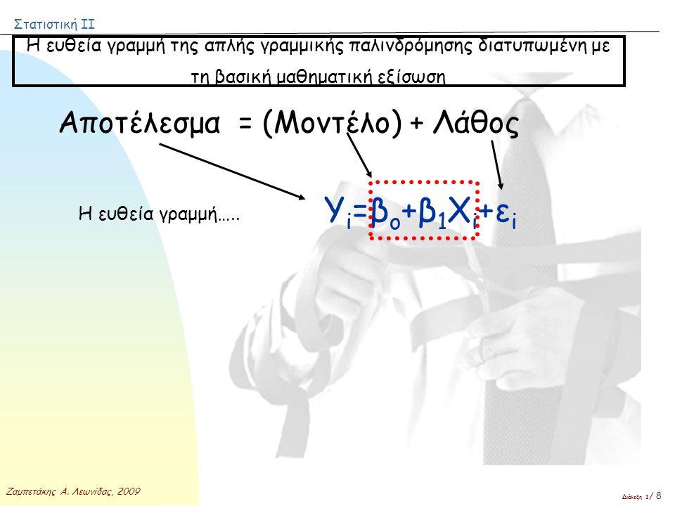 Στατιστική ΙΙ Ζαμπετάκης Α. Λεωνίδας, 2009 Διάλεξη 1 / 8 Η ευθεία γραμμή….. Υ i =β ο +β 1 Χ i +ε i Η ευθεία γραμμή της απλής γραμμικής παλινδρόμησης δ