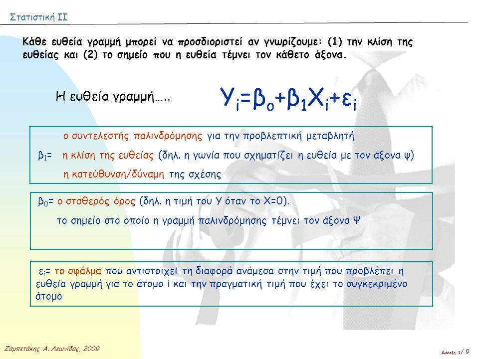 Στατιστική ΙΙ Ζαμπετάκης Α. Λεωνίδας, 2009 Διάλεξη 1 / 9 Κάθε ευθεία γραμμή μπορεί να προσδιοριστεί αν γνωρίζουμε: (1) την κλίση της ευθείας και (2) τ