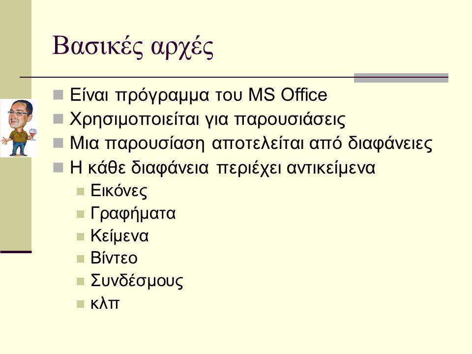 Βασικές αρχές Είναι πρόγραμμα του MS Office Χρησιμοποιείται για παρουσιάσεις Μια παρουσίαση αποτελείται από διαφάνειες Η κάθε διαφάνεια περιέχει αντικείμενα Εικόνες Γραφήματα Κείμενα Βίντεο Συνδέσμους κλπ