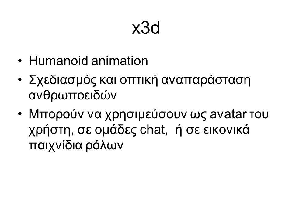 x3d Humanoid animation Σχεδιασμός και οπτική αναπαράσταση ανθρωποειδών Μπορούν να χρησιμεύσουν ως avatar του χρήστη, σε ομάδες chat, ή σε εικονικά παιχνίδια ρόλων