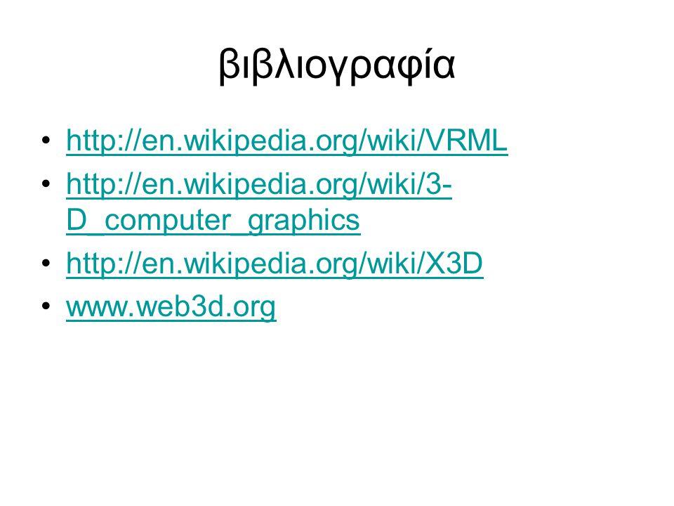 βιβλιογραφία http://en.wikipedia.org/wiki/VRML http://en.wikipedia.org/wiki/3- D_computer_graphicshttp://en.wikipedia.org/wiki/3- D_computer_graphics http://en.wikipedia.org/wiki/X3D www.web3d.org