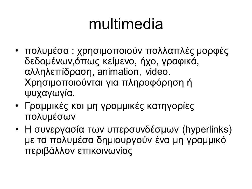multimedia πολυμέσα : χρησιμοποιούν πολλαπλές μορφές δεδομένων,όπως κείμενο, ήχο, γραφικά, αλληλεπίδραση, animation, video.