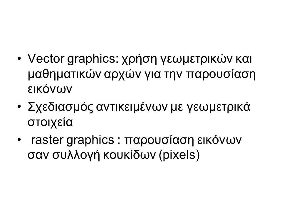Vector graphics: χρήση γεωμετρικών και μαθηματικών αρχών για την παρουσίαση εικόνων Σχεδιασμός αντικειμένων με γεωμετρικά στοιχεία raster graphics : παρουσίαση εικόνων σαν συλλογή κουκίδων (pixels)