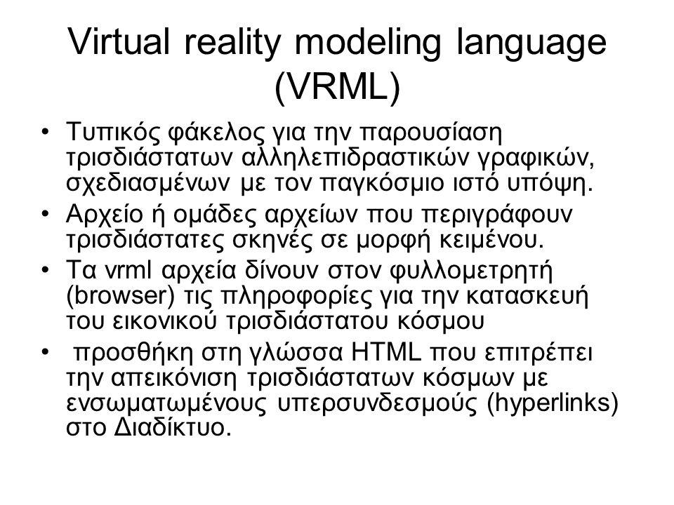 VRML Οι φάκελοι vrml ονομάζονται και vrml κόσμοι και παίρνουν την κατάληξη.wrl Μπορούν να συμπιεσθούν ώστε να μεταφέρονται πιο γρήγορα διαδικτυακά (εφαρμογή λογισμικού Gzip) Πολλά προγράμματα εικονικού μοντελισμού μπορούν να αποθηκευθούν σε γλώσσα vrml