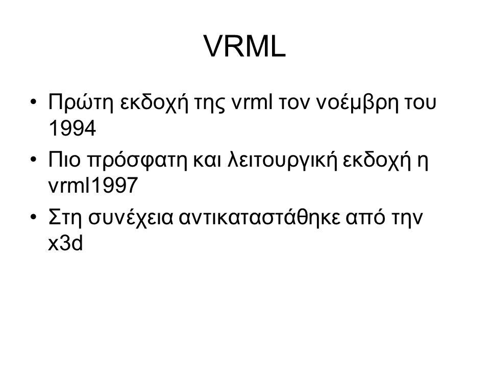 VRML Πρώτη εκδοχή της vrml τον νοέμβρη του 1994 Πιο πρόσφατη και λειτουργική εκδοχή η vrml1997 Στη συνέχεια αντικαταστάθηκε από την x3d