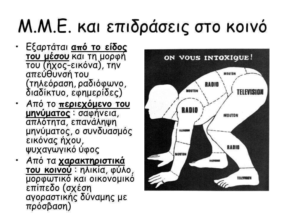 Μ.Μ.Ε. και επιδράσεις στο κοινό Εξαρτάται από το είδος του μέσου και τη μορφή του (ήχος-εικόνα), την απεύθυνσή του (τηλεόραση, ραδιόφωνο, διαδίκτυο, ε