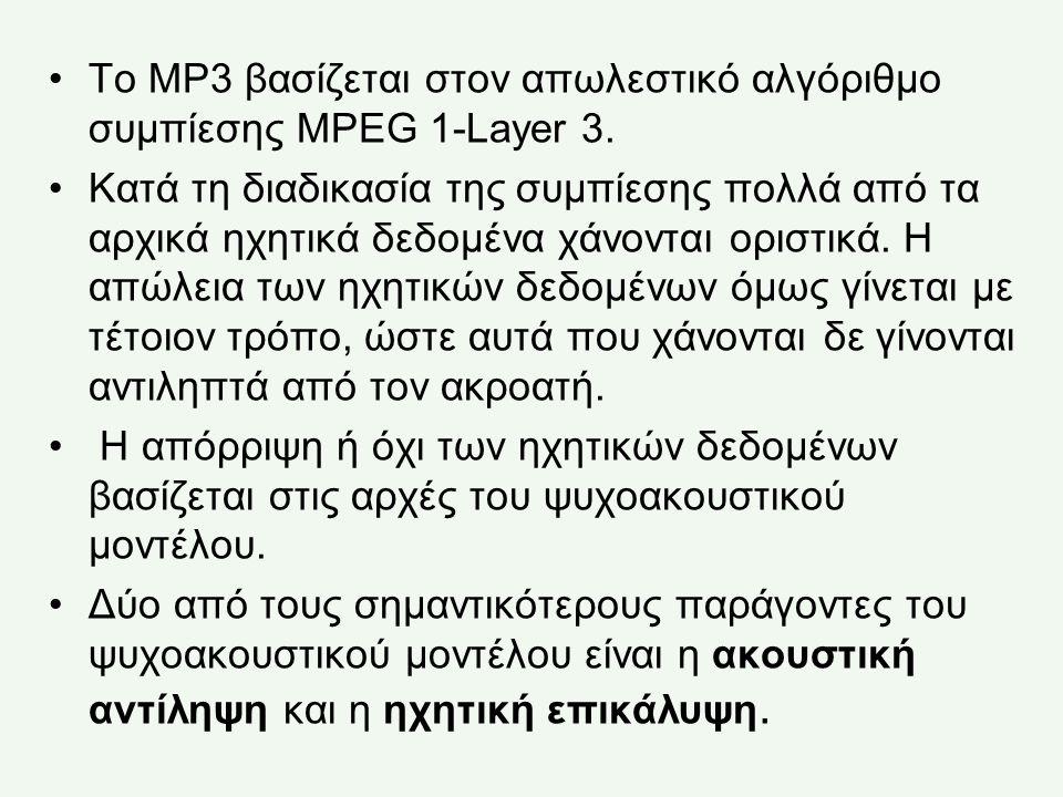Το MP3 βασίζεται στον απωλεστικό αλγόριθμο συμπίεσης MPEG 1-Layer 3.