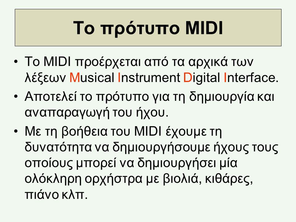 Το πρότυπο MIDI Το MIDI προέρχεται από τα αρχικά των λέξεων Musical Instrument Digital Interface.