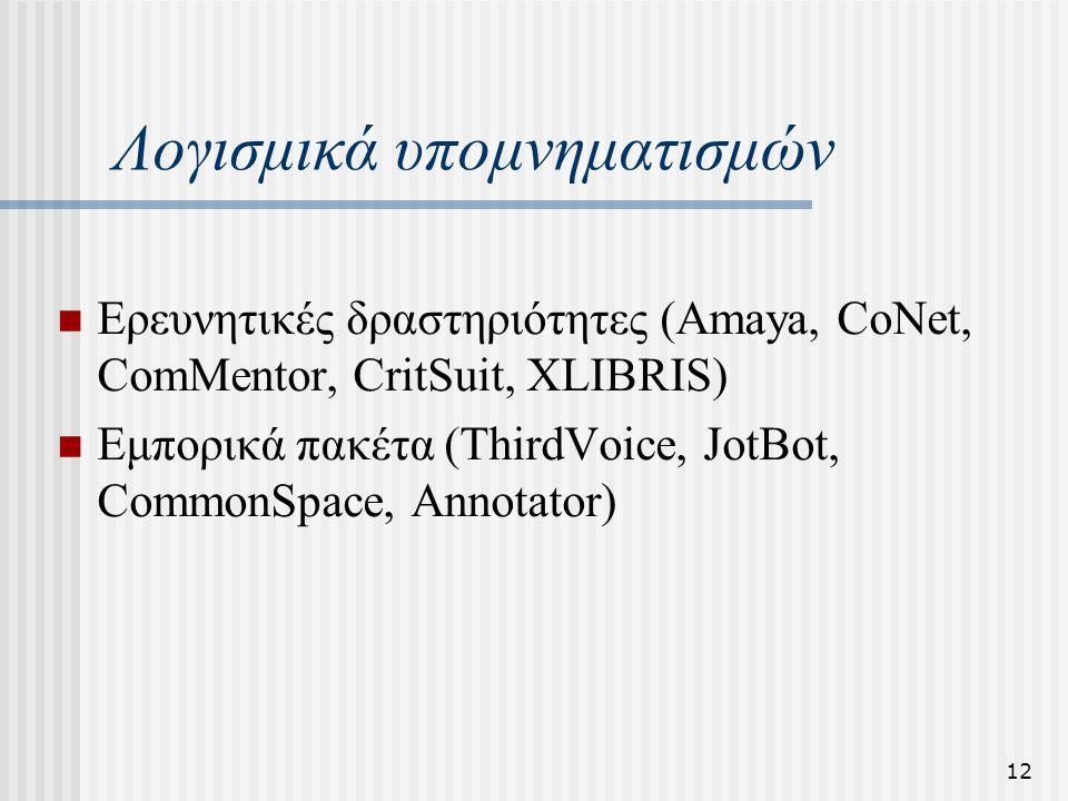 12 Λογισμικά υπομνηματισμών Ερευνητικές δραστηριότητες (Amaya, CoNet, ComMentor, CritSuit, XLIBRIS) Εμπορικά πακέτα (ThirdVoice, JotBot, CommonSpace, Annotator)