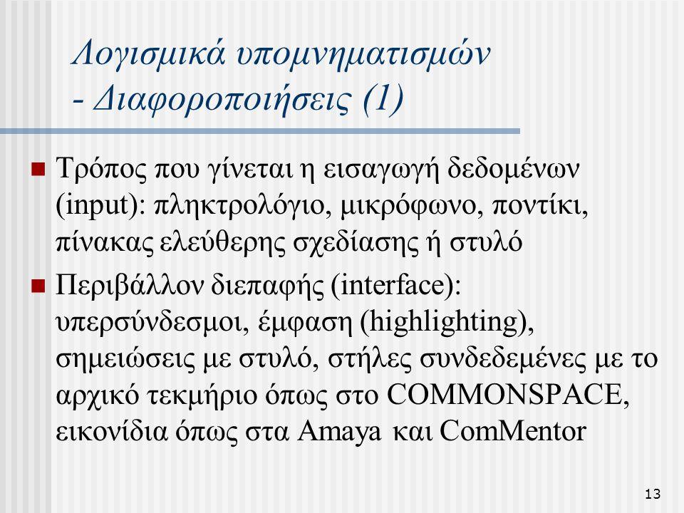 13 Λογισμικά υπομνηματισμών - Διαφοροποιήσεις (1) Τρόπος που γίνεται η εισαγωγή δεδομένων (input): πληκτρολόγιο, μικρόφωνο, ποντίκι, πίνακας ελεύθερης σχεδίασης ή στυλό Περιβάλλον διεπαφής (interface): υπερσύνδεσμοι, έμφαση (highlighting), σημειώσεις με στυλό, στήλες συνδεδεμένες με το αρχικό τεκμήριο όπως στο COMMONSPACE, εικονίδια όπως στα Amaya και ComMentor