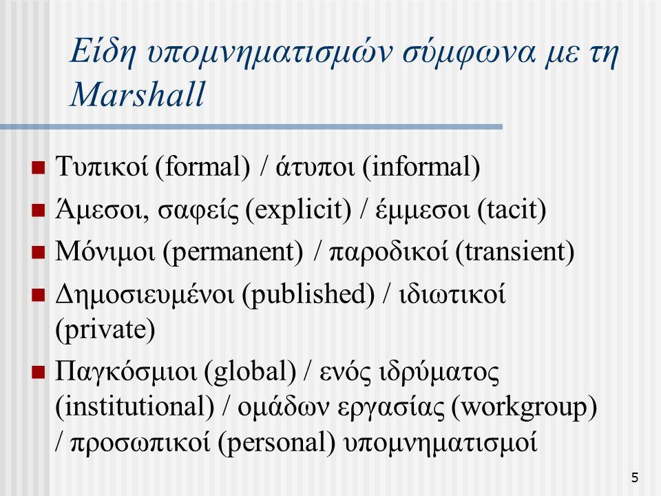 5 Είδη υπομνηματισμών σύμφωνα με τη Marshall Τυπικοί (formal) / άτυποι (informal) Άμεσοι, σαφείς (explicit) / έμμεσοι (tacit) Μόνιμοι (permanent) / πα