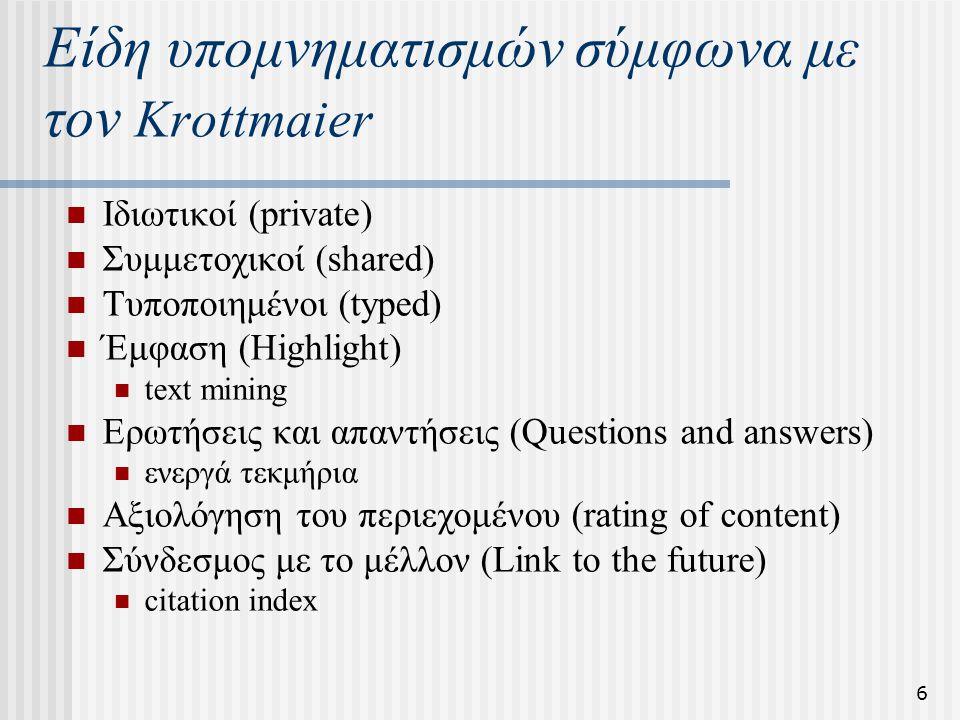 6 Είδη υπομνηματισμών σύμφωνα με τον Krottmaier Ιδιωτικοί (private) Συμμετοχικοί (shared) Τυποποιημένοι (typed) Έμφαση (Highlight) text mining Ερωτήσεις και απαντήσεις (Questions and answers) ενεργά τεκμήρια Αξιολόγηση του περιεχομένου (rating of content) Σύνδεσμος με το μέλλον (Link to the future) citation index