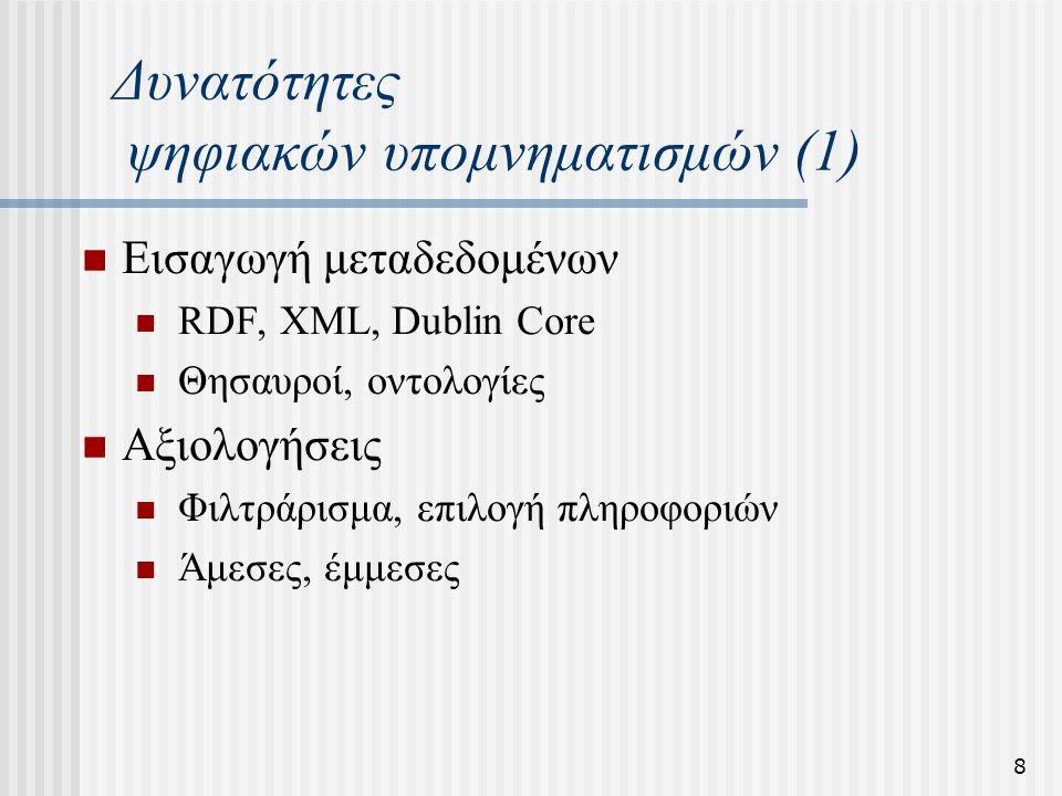 9 Δυνατότητες ψηφιακών υπομνηματισμών (2) Δεν υπάρχει περιορισμός χώρου Συνεργασία και ανταλλαγή απόψεων Υπομνηματισμοί στους υπομνηματισμούς Από οποιοδήποτε σημείο Χωρίς φθορά όπως γινόταν με το χαρτί Χωρίς απώλεια χρήσιμης πληροφορίας Διάλογος έναντι των «επιστολών στον συντάκτη»