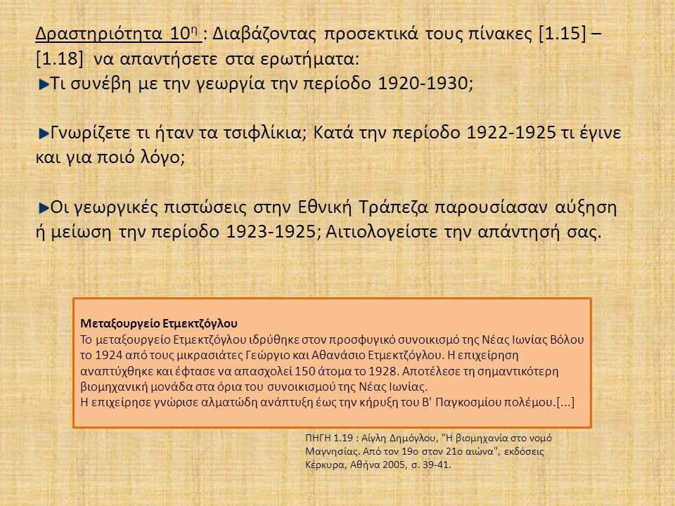 Δραστηριότητα 10 η : Διαβάζοντας προσεκτικά τους πίνακες [1.15] – [1.18] να απαντήσετε στα ερωτήματα: Τι συνέβη με την γεωργία την περίοδο 1920-1930; Γνωρίζετε τι ήταν τα τσιφλίκια; Κατά την περίοδο 1922-1925 τι έγινε και για ποιό λόγο; Οι γεωργικές πιστώσεις στην Εθνική Τράπεζα παρουσίασαν αύξηση ή μείωση την περίοδο 1923-1925; Αιτιολογείστε την απάντησή σας.