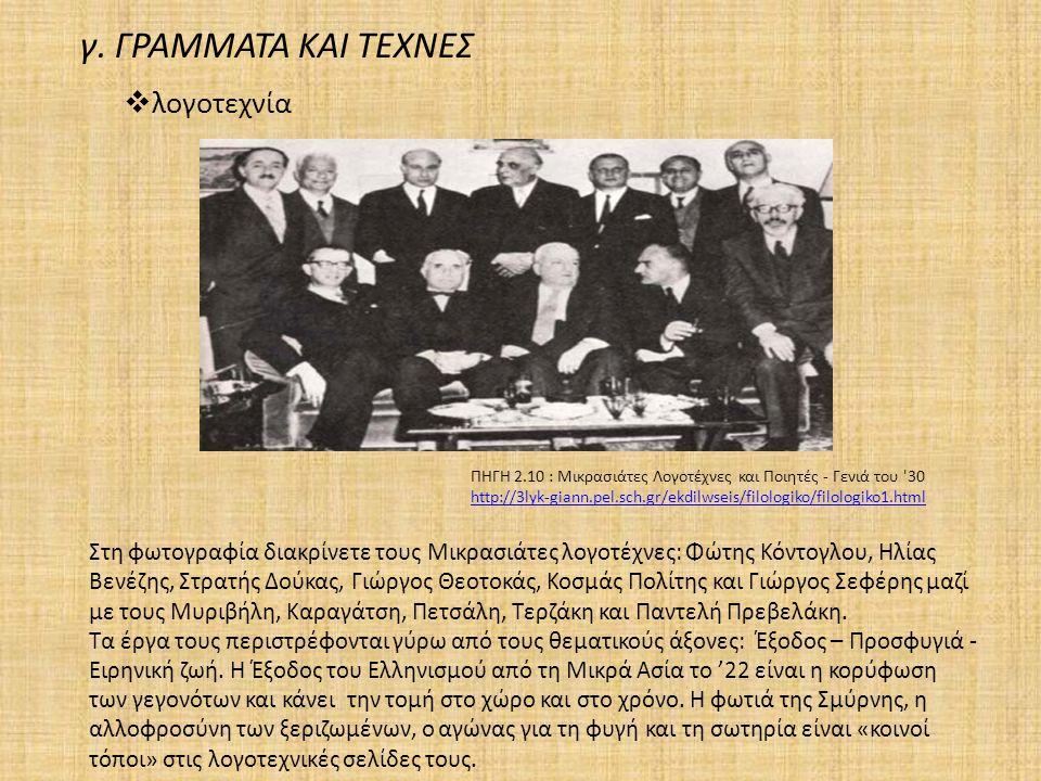 Στη φωτογραφία διακρίνετε τους Μικρασιάτες λογοτέχνες: Φώτης Κόντογλου, Ηλίας Βενέζης, Στρατής Δούκας, Γιώργος Θεοτοκάς, Κοσμάς Πολίτης και Γιώργος Σε