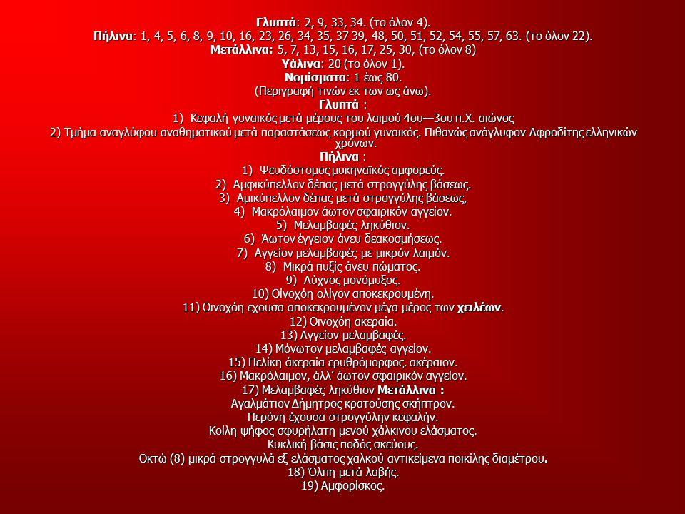 Γλυπτά: 2, 9, 33, 34. (το όλον 4). Πήλινα: 1, 4, 5, 6, 8, 9, 10, 16, 23, 26, 34, 35, 37 39, 48, 50, 51, 52, 54, 55, 57, 63. (το όλον 22). Μετάλλινα: 5