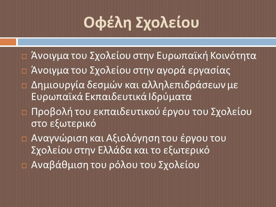 Οφέλη Σχολείου  Άνοιγμα του Σχολείου στην Ευρωπαϊκή Κοινότητα  Άνοιγμα του Σχολείου στην αγορά εργασίας  Δημιουργία δεσμών και αλληλεπιδράσεων με Ευρωπαϊκά Εκπαιδευτικά Ιδρύματα  Προβολή του εκπαιδευτικού έργου του Σχολείου στο εξωτερικό  Αναγνώριση και Αξιολόγηση του έργου του Σχολείου στην Ελλάδα και το εξωτερικό  Αναβάθμιση του ρόλου του Σχολείου