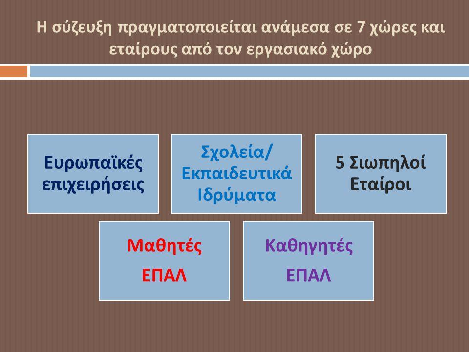 Η σύζευξη πραγματοποιείται ανάμεσα σε 7 χώρες και εταίρους από τον εργασιακό χώρο Ευρω π αϊκές ε π ιχειρήσεις Σχολεία / Εκ π αιδευτικά Ιδρύματα 5 Σιω π ηλοί Εταίροι Μαθητές ΕΠΑΛ Καθηγητές ΕΠΑΛ