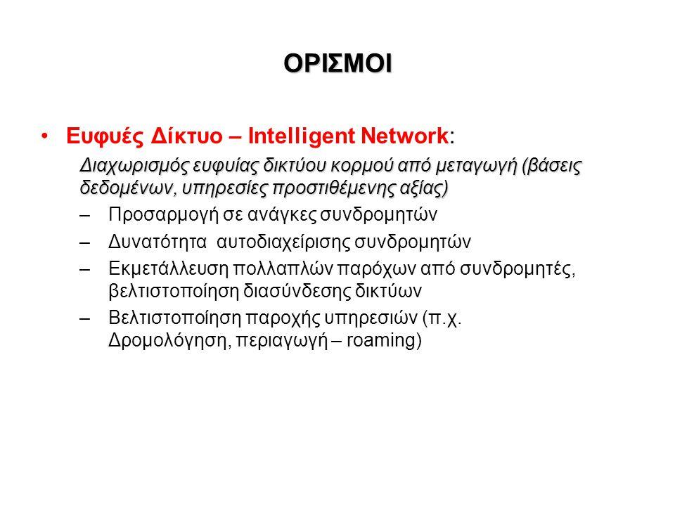 ΟΡΙΣΜΟΙ Ευφυές Δίκτυο – Intelligent Network: Διαχωρισμός ευφυίας δικτύου κορμού από μεταγωγή (βάσεις δεδομένων, υπηρεσίες προστιθέμενης αξίας) – Προσαρμογή σε ανάγκες συνδρομητών – Δυνατότητα αυτοδιαχείρισης συνδρομητών –Εκμετάλλευση πολλαπλών παρόχων από συνδρομητές, βελτιστοποίηση διασύνδεσης δικτύων – Βελτιστοποίηση παροχής υπηρεσιών (π.χ.