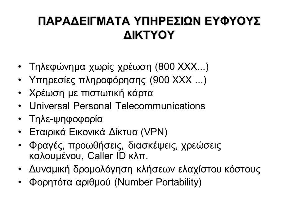 ΠΑΡΑΔΕΙΓΜΑΤΑ ΥΠΗΡΕΣΙΩΝ ΕΥΦΥΟΥΣ ΔΙΚΤΥΟΥ Τηλεφώνημα χωρίς χρέωση (800 ΧΧΧ...) Υπηρεσίες πληροφόρησης (900 ΧΧΧ...) Χρέωση με πιστωτική κάρτα Universal Personal Telecommunications Τηλε-ψηφοφορία Εταιρικά Εικονικά Δίκτυα (VPN) Φραγές, προωθήσεις, διασκέψεις, χρεώσεις καλουμένου, Caller ID κλπ.