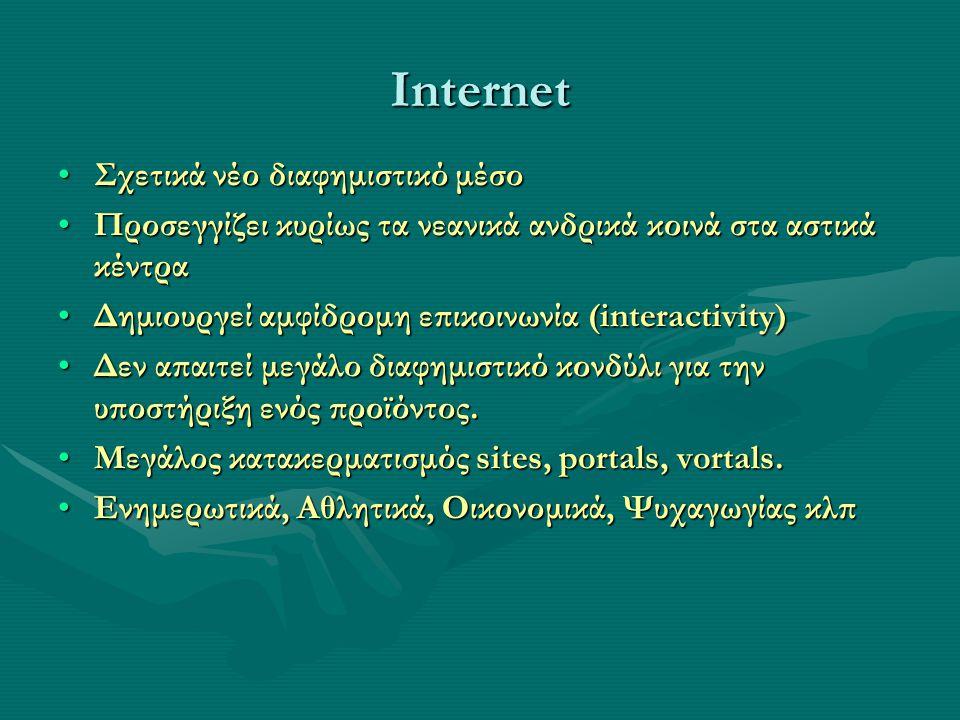Σχετικά νέο διαφημιστικό μέσοΣχετικά νέο διαφημιστικό μέσο Προσεγγίζει κυρίως τα νεανικά ανδρικά κοινά στα αστικά κέντραΠροσεγγίζει κυρίως τα νεανικά ανδρικά κοινά στα αστικά κέντρα Δημιουργεί αμφίδρομη επικοινωνία (interactivity)Δημιουργεί αμφίδρομη επικοινωνία (interactivity) Δεν απαιτεί μεγάλο διαφημιστικό κονδύλι για την υποστήριξη ενός προϊόντος.Δεν απαιτεί μεγάλο διαφημιστικό κονδύλι για την υποστήριξη ενός προϊόντος.