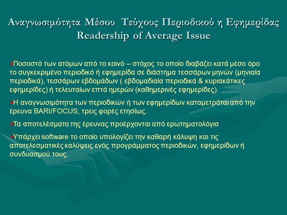  Ποσοστό των ατόμων από το κοινό – στόχος το οποίο διαβάζει κατά μέσο όρο το συγκεκριμένο περιοδικό ή εφημερίδα σε διάστημα τεσσάρων μηνών (μηνιαία περιοδικά), τεσσάρων εβδομάδων ( εβδομαδιαία περιοδικά & κυριακάτικες εφημερίδες) ή τελευταίων επτά ημερών (καθημερινές εφημερίδες).