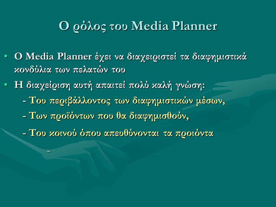 O Media Planner έχει να διαχειριστεί τα διαφημιστικά κονδύλια των πελατών τουO Media Planner έχει να διαχειριστεί τα διαφημιστικά κονδύλια των πελατών του Η διαχείριση αυτή απαιτεί πολύ καλή γνώση:Η διαχείριση αυτή απαιτεί πολύ καλή γνώση: - Tου περιβάλλοντος των διαφημιστικών μέσων, - Tου περιβάλλοντος των διαφημιστικών μέσων, - Tων προϊόντων που θα διαφημισθούν, - Tων προϊόντων που θα διαφημισθούν, - Tου κοινού όπου απευθύνονται τα προιόντα - Tου κοινού όπου απευθύνονται τα προιόντα -