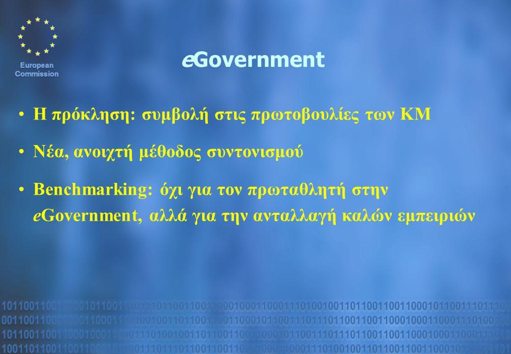 eGovernment Η πρόκληση: συμβολή στις πρωτοβουλίες των ΚΜ Νέα, ανοιχτή μέθοδος συντονισμού Benchmarking: όχι για τον πρωταθλητή στην eGovernment, αλλά για την ανταλλαγή καλών εμπειριών
