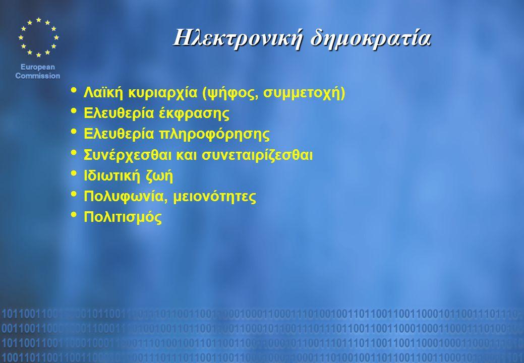 Ηλεκτρονική δημοκρατία Λαϊκή κυριαρχία (ψήφος, συμμετοχή) Ελευθερία έκφρασης Ελευθερία πληροφόρησης Συνέρχεσθαι και συνεταιρίζεσθαι Ιδιωτική ζωή Πολυφωνία, μειονότητες Πολιτισμός