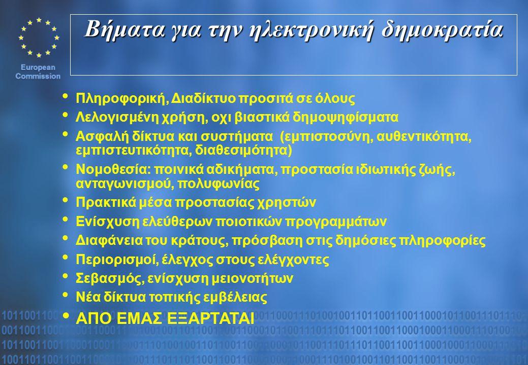 Βήματα για την ηλεκτρονική δημοκρατία Πληροφορική, Διαδίκτυο προσιτά σε όλους Λελογισμένη χρήση, οχι βιαστικά δημοψηφίσματα Ασφαλή δίκτυα και συστήματα (εμπιστοσύνη, αυθεντικότητα, εμπιστευτικότητα, διαθεσιμότητα) Νομοθεσία: ποινικά αδικήματα, προστασία ιδιωτικής ζωής, ανταγωνισμού, πολυφωνίας Πρακτικά μέσα προστασίας χρηστών Ενίσχυση ελεύθερων ποιοτικών προγραμμάτων Διαφάνεια του κράτους, πρόσβαση στις δημόσιες πληροφορίες Περιορισμοί, έλεγχος στους ελέγχοντες Σεβασμός, ενίσχυση μειονοτήτων Νέα δίκτυα τοπικής εμβέλειας ΑΠΟ ΕΜΑΣ ΕΞΑΡΤΑΤΑΙ
