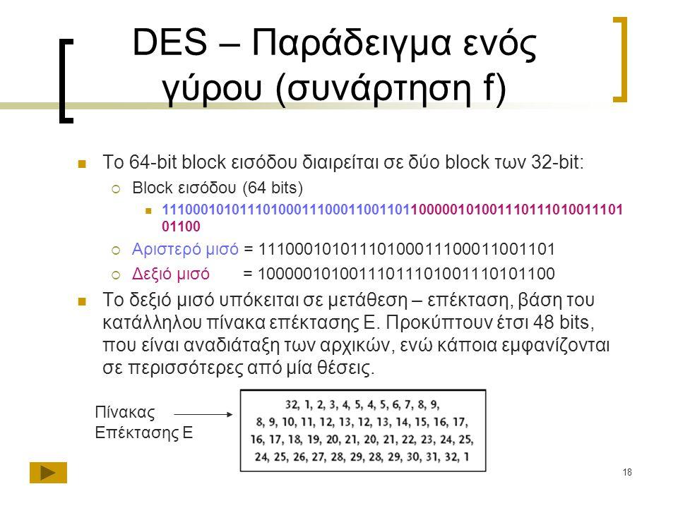 18 DES – Παράδειγμα ενός γύρου (συνάρτηση f) Το 64-bit block εισόδου διαιρείται σε δύο block των 32-bit:  Block εισόδου (64 bits) 11100010101110100011100011001101100000101001110111010011101 01100  Αριστερό μισό = 11100010101110100011100011001101  Δεξιό μισό = 10000010100111011101001110101100 To δεξιό μισό υπόκειται σε μετάθεση – επέκταση, βάση του κατάλληλου πίνακα επέκτασης E.