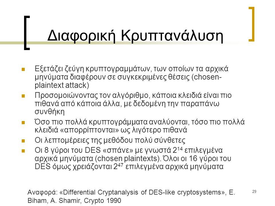 29 Διαφορική Κρυπτανάλυση Εξετάζει ζεύγη κρυπτογραμμάτων, των οποίων τα αρχικά μηνύματα διαφέρουν σε συγκεκριμένες θέσεις (chosen- plaintext attack) Προσομοιώνοντας τον αλγόριθμο, κάποια κλειδιά είναι πιο πιθανά από κάποια άλλα, με δεδομένη την παραπάνω συνθήκη Όσο πιο πολλά κρυπτογράμματα αναλύονται, τόσο πιο πολλά κλειδιά «απορρίπτονται» ως λιγότερο πιθανά Οι λεπτομέρειες της μεθόδου πολύ σύνθετες Οι 8 γύροι του DES «σπάνε» με γνωστά 2 14 επιλεγμένα αρχικά μηνύματα (chosen plaintexts).