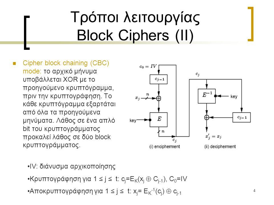 4 Τρόποι λειτουργίας Block Ciphers (ΙΙ) Cipher block chaining (CBC) mode: το αρχικό μήνυμα υποβάλλεται XOR με το προηγούμενο κρυπτόγραμμα, πριν την κρυπτογράφηση.