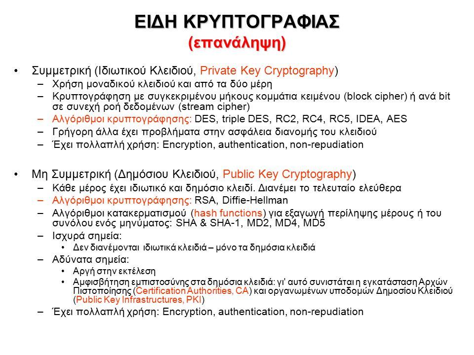 ΕΙΔΗ ΚΡΥΠΤΟΓΡΑΦΙΑΣ (επανάληψη) Συμμετρική (Ιδιωτικού Κλειδιού, Private Key Cryptography) –Χρήση μοναδικού κλειδιού και από τα δύο μέρη –Κρυπτογράφηση με συγκεκριμένου μήκους κομμάτια κειμένου (block cipher) ή ανά bit σε συνεχή ροή δεδομένων (stream cipher) –Αλγόριθμοι κρυπτογράφησης: DES, triple DES, RC2, RC4, RC5, IDEA, AES –Γρήγορη άλλα έχει προβλήματα στην ασφάλεια διανομής του κλειδιού –Έχει πολλαπλή χρήση: Encryption, authentication, non-repudiation Μη Συμμετρική (Δημόσιου Κλειδιού, Public Key Cryptography) –Κάθε μέρος έχει ιδιωτικό και δημόσιο κλειδί.