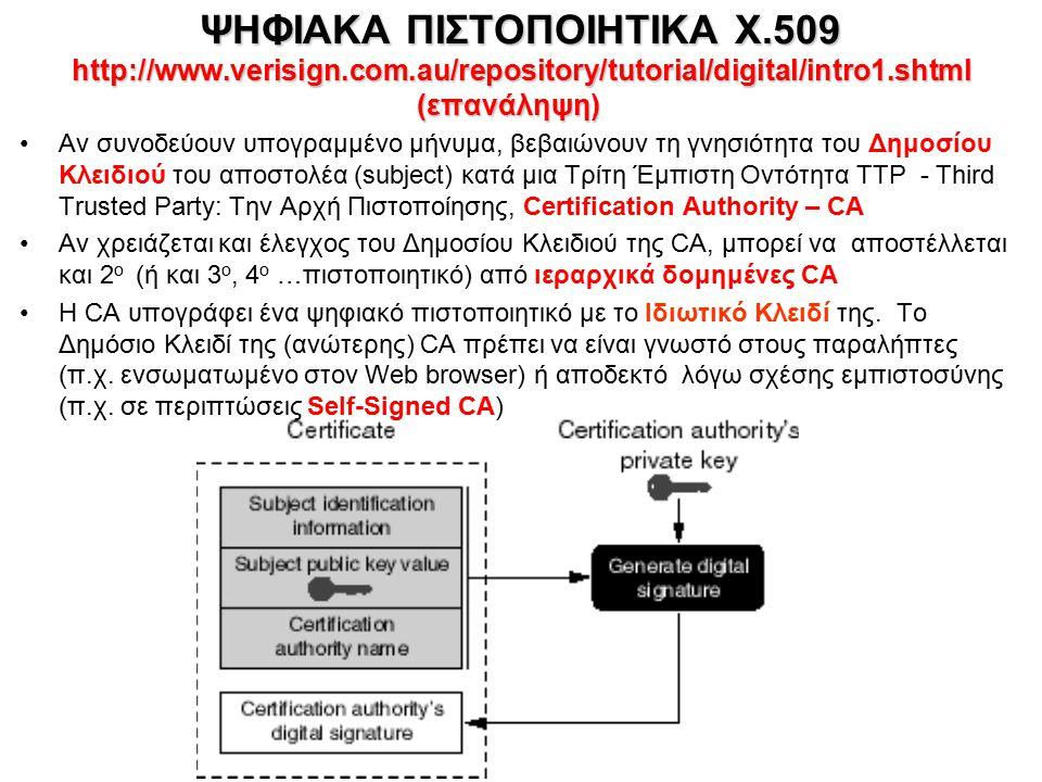 ΨΗΦΙΑΚΑ ΠΙΣΤΟΠΟΙΗΤΙΚΑ Χ.509 http://www.verisign.com.au/repository/tutorial/digital/intro1.shtml (επανάληψη) Αν συνοδεύουν υπογραμμένο μήνυμα, βεβαιώνουν τη γνησιότητα του Δημοσίου Κλειδιού του αποστολέα (subject) κατά μια Τρίτη Έμπιστη Οντότητα TTP - Third Trusted Party: Την Αρχή Πιστοποίησης, Certification Authority – CA Αν χρειάζεται και έλεγχος του Δημοσίου Κλειδιού της CA, μπορεί να αποστέλλεται και 2 ο (ή και 3 ο, 4 ο …πιστοποιητικό) από ιεραρχικά δομημένες CA Η CA υπογράφει ένα ψηφιακό πιστοποιητικό με το Ιδιωτικό Κλειδί της.