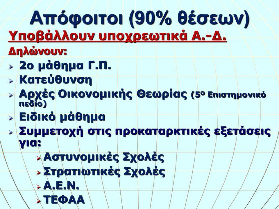 Απόφοιτοι (10% θέσεων):  Κατάθεση μηχανογραφικού δελτίου χωρίς εξετάσεις (στις προβλεπόμενες ημερομηνίες)  Υποβάλλουν υποχρεωτικά Α.-Δ.