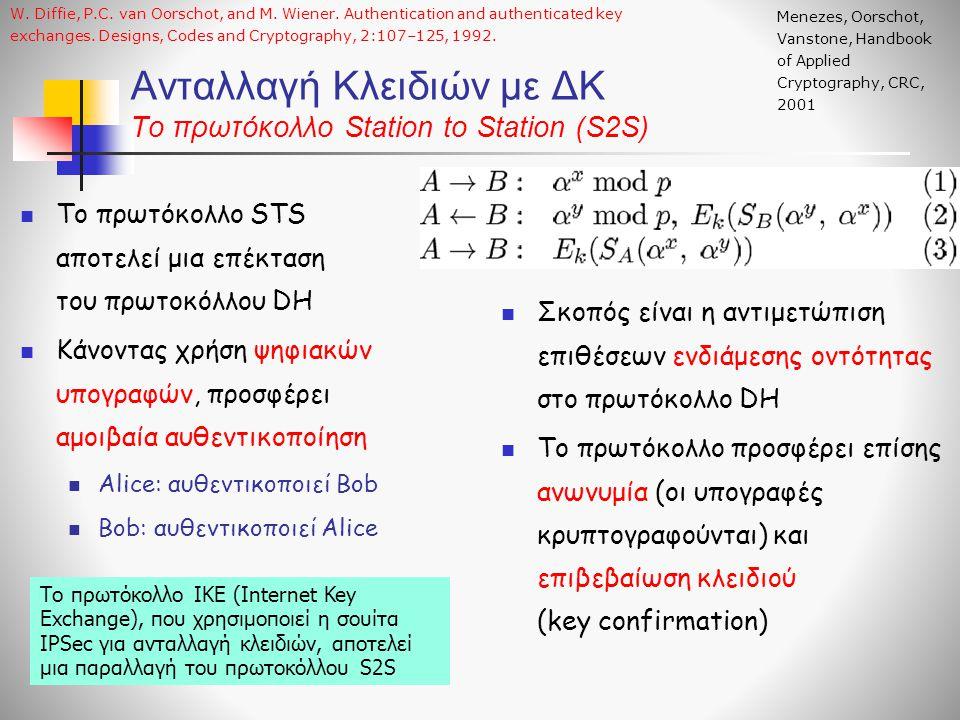 Ανταλλαγή Κλειδιών με ΔΚ Το πρωτόκολλο Station to Station (S2S) Το πρωτόκολλο STS αποτελεί μια επέκταση του πρωτοκόλλου DΗ Κάνοντας χρήση ψηφιακών υπογραφών, προσφέρει αμοιβαία αυθεντικοποίηση Alice: αυθεντικοποιεί Bob Bob: αυθεντικοποιεί Alice Σκοπός είναι η αντιμετώπιση επιθέσεων ενδιάμεσης οντότητας στο πρωτόκολλο DH Το πρωτόκολλο προσφέρει επίσης ανωνυμία (οι υπογραφές κρυπτογραφούνται) και επιβεβαίωση κλειδιού (key confirmation) Menezes, Oorschot, Vanstone, Handbook of Applied Cryptography, CRC, 2001 W.